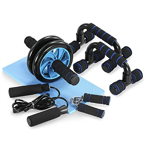 TOMSHOO 5 PC Fitness Exercise Set - Ab Wheel Roller Push-Up Bar with Knee Pad-Hand Gripper Jump Rope for Perfect Daily Home Workout Equipment Set