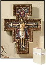 Living Grace San Damiano Buntes Kruzifix, Kunstharz, zum Auf