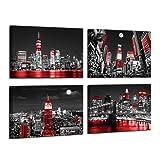 Black and White Wall Art Modern Manhattan Wall Art Black Art Paintings for Wall New York Skyline Wall Decorations for Living Room Artwork for Home Walls Framed Wall Art Bedroom Decor 12x16inchx4pcs
