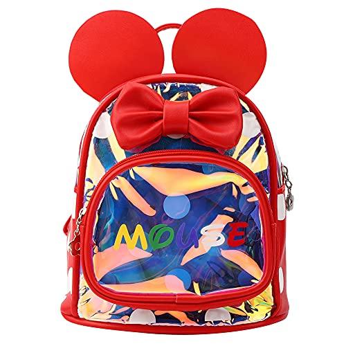 YIFengFurun Mochila para niños niña linda moda Mickey ear mochila jardín de infantes bolsa de escuela rojo