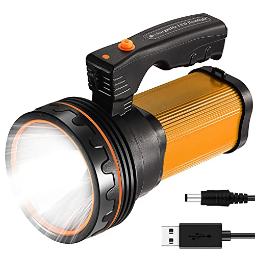 CSNDICE 35W Rechargeable Handheld Flashlights- High Lumens Spotlight 9000 Lumens, IPX45 Waterproof Rechargeable Spotlight USB Output 6600mAh, Can be Used for Home and Outdoor use (Gold)