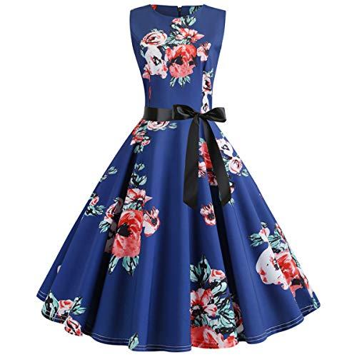 Ladies Audrey Hepburn Swing Aline Cocktail 40s 60s 50s Vintage Rockabilly Dresses for Women Housewife Vintage Elegant Summer Evening Party Dress (Navy Blue Floral, XL/US Size 12-14)