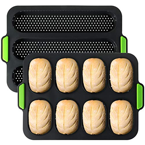 TOPZEA Set of 2 Silicone Baguette Pan, Nonstick French Bread Mold Perforated Pan 3 Wave Loaves Toast Loaf Bake Mold 8 Gutter Bread Crisping Tray for Cake Cooking Baker, Black