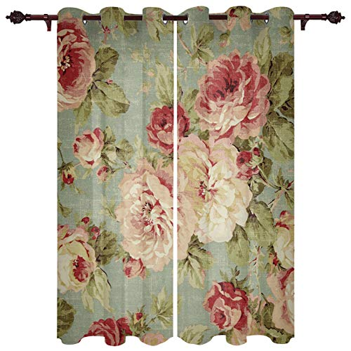 "T&H XHome Draperies & Curtains,Retro Rose Floral Flower Pattern Window Curtain, 2 Panel Curtains for Sliding Glass Door Bedroom Living Room 54"" W by 39"" L"