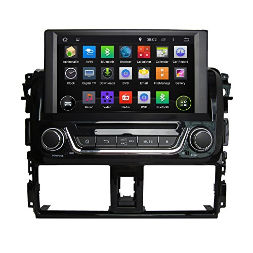 8Inch Quad Core 1024* 600Android 5.1Coche Reproductor de DVD GPS navegación Multimedia estéreo de Coche para Toyota Yaris 2014Radio Control de Volante con 3G WiFi Bluetooth Gratuito SD Mapa
