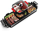 KECOP Electric Smokeless Hot Pot Grill Indoor Barbecue, 2200W 3 in 1 Large Capacity 5 Speed Fire Adjustment Multifunctional Non-Stick Shabu Shabu Hot Pot Electric Pot for Household Dinner and Entertainment Party