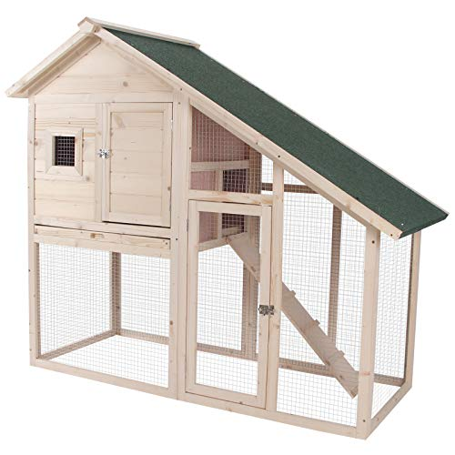 """PawHut 55"""" L 2-Tier Wood Rabbit Hutch Backyard Cage Small Animal House with Ramp and Outdoor Run"""