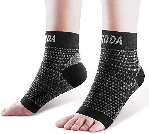 AVIDDA Plantar Fasciitis Socks 2 PAIRS, Compression Foot Sleeves for Sport Arthritis Pain Relief, Ankle Support Brace for Men and Women Black L