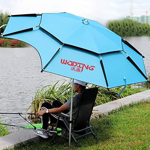 outdoor product Parapluie de Pêche en Plein Air,Imperméable À Double Couche À 360 ° Réglable Universellement Parasol Parasol Pliable Parapluie Anti-Ultraviolet,Parapluie Coupe-Vent Parasol