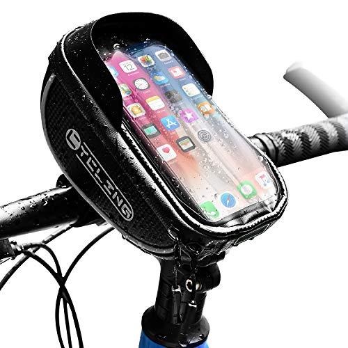 自転車トップチューブバッグ フレームバッグ 自転車用バッグ 6インチスマホ対応 イヤホン穴付き 完全防水 大容量 遮光 スマホホルダー 高感度タッチスクリーン 取り付け簡単 ロードバイク マウンテンバイク クロスバイク適用 サイクリング用品 (ブラック)