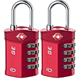 Forge Quality 4 Digit TSA Approved Luggage Lock 2 Red Locks with Open Alert Indicator, Alloy Body for Pelican case, suitcase, gym locker.