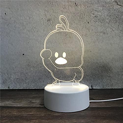 Luz Nocturna ,Lámpara De Ilusión Óptica Led 3D Con Placas Acrílicas De Patrones,Lámpara De Visualización Creativa Usb Regalo Para Niños,Pequeño Pato