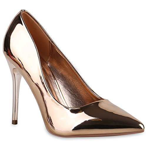 Spitze Damen Pumps High Heels Stilettos Lack Party Schuhe 128756 Bronze 36 Flandell