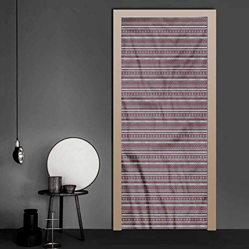 Wallpaper Tribal, Bohemian Borders Self-Adhesive Door Mural for Home Office Decoration 17.1 x 78.7 Inch