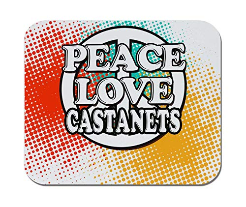 Makoroni - Peace Love Castanets Music- Non-Slip Rubber - Computer, Gaming, Office Mousepad