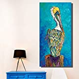 N / A Blue Animal Oil Painting Picture Posters and Prints For Home Decoration Wall Art Canvas Frameless 12X24 cm