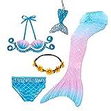 Traje de baño de princesa con cola de sirena para niñas, traje de baño con corona de 5 piezas de 3 a 12 años (sin monoaleta)