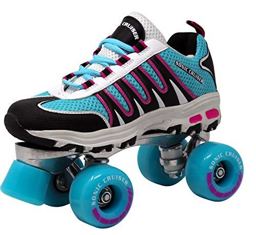 Lenexa Sonic Cruiser 2.0 Unisex Outdoor High Performance Rebound Wheels Quad Roller Speed Skates for Men and Women - Sneaker Shoe Style for Outdoor Skating, Teal/Black, Ladies 5/ Mens 4