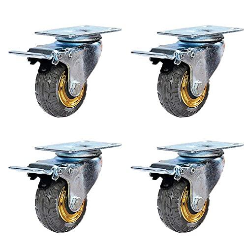 SVUZU Rueda Universal de 4 x 3 Pulgadas Ruedas industriales Ruedas Resistentes Rueda de Goma Silenciador Antideslizante A Prueba de Golpes Fácil operación Gire 360 Grados Adecuado para