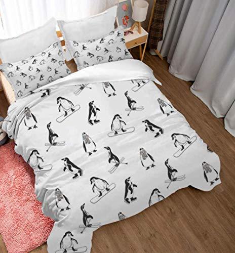 Fundas Nórdicas 3D Pequeño Pingüino Animal De Dibujos Animados/150X200cm 3 Piezas Funda De Edredón De Microfibra Suave Transpirable Incluye 1 Funda Nórdica Y 2 Funda De Almohada Para Adolescentes