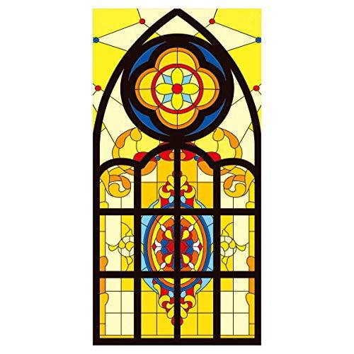 RAIN QUEEN Fensterfolie statische Aufkleber Glasdekorfolie Milchglasfolie Sichtschutzfolie Blickdicht Folie Selbstklebend bunt (45 * 90cm, Kirche)