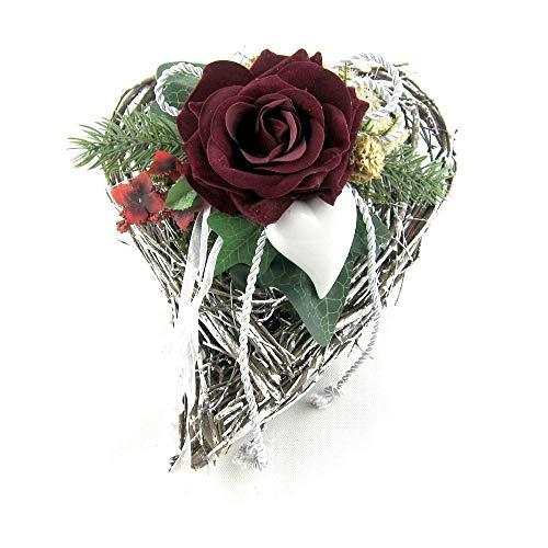 Small-Preis Grabgesteck - Grabschmuck - Grabaufleger Herz mit Rose und Kordel 009
