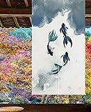 LIGICKY Cortina Japonesa noren para Puerta de Entrada, de algodón y Lino, con Estampado de Peces de Koi, para...
