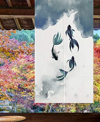LIGICKY Cortina Japonesa noren para Puerta de Entrada, de algodón y Lino, con Estampado de Peces de Koi, para decoración de Ventanas asiática, para Sushi Cocina, decoración del hogar, 85 x 120 cm
