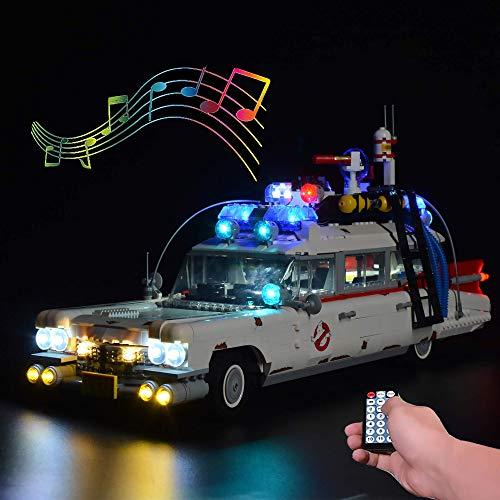 ZJLA Juego de luces de control remoto con sonido para Lego Ghostbusters ecto-1 10274, iluminación para Lego 10274 ecto 1 (no incluye modelo Lego) (con control remoto de sonido)