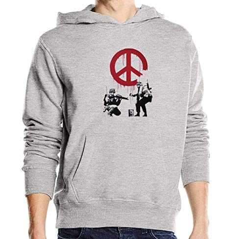 Atprints Banksy Street Art Soldiers Painting Peace Sign Grau Unisex Pullover Hoodie L