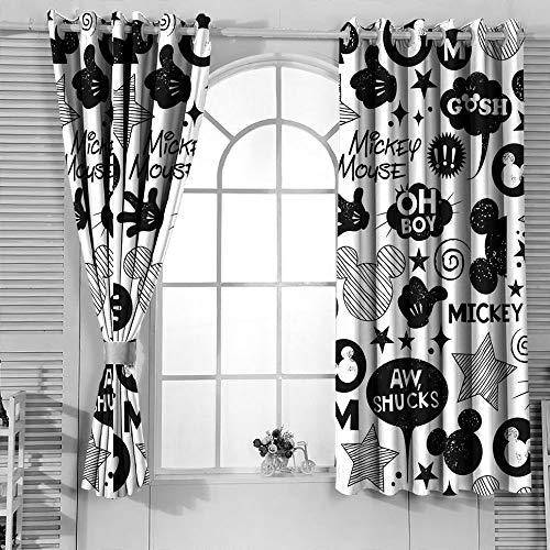 Mic-key Min-nie Mouse Cortinas para sala de estar infantil, cortinas térmicas aislantes, cortinas opacas con aislamiento térmico, 42 x 54 pulgadas