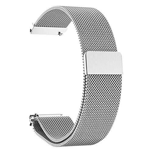 ANNYOO Armband für Samsung Galaxy Watch 46mm, 22 mm Stegbreite Mesh Gewebte Uhrenarmband Edelstahl Metall Armband für Gear S3 Classic/S3 Frontier (Silber)