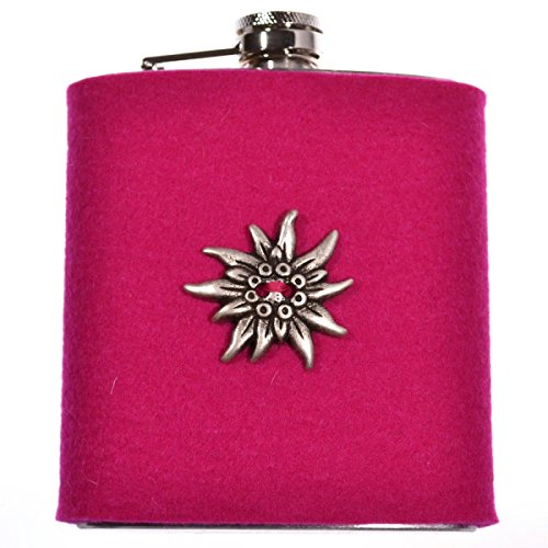 FLACHMANN aus Edelstahl | 7 OZ Hip Flask mit abnehmbarer Hülle aus Filz (Pink) | zur Tracht mit Edelweiss | Geschenkidee für Damen | Taschenflasche für Schnaps und Spirituosen