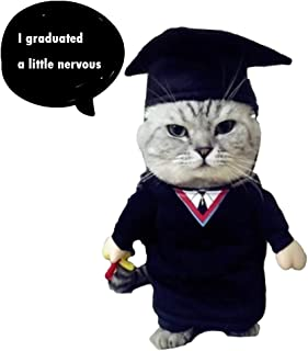 NACOCO Cat Academic Dress Pet Baccalaureate Gown Small Dog Funny Costume Suit for Christmas Halloween