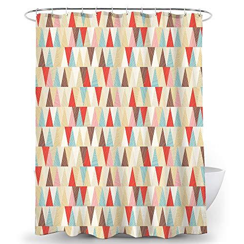Alumuk Duschvorhänge Duschvorhang Anti-Schimmel Bad Vorhang Textil aus Polyester Stoff Wasserabweisend Shower Curtain Anti-Bakteriell mit 12 Duschvorhangringen (Dreieck, 260 x 200 cm)