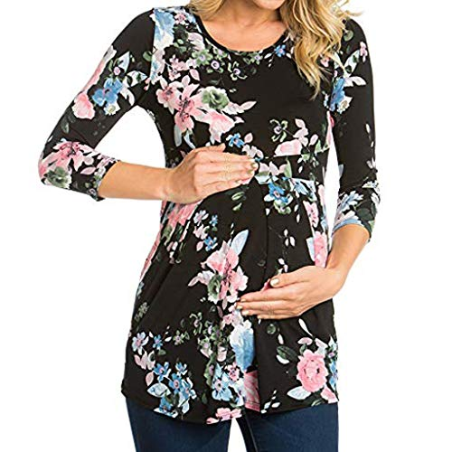 Vrouwen Moederschap Bloemen Lange Mouw T-Shirt Zwangerschap Shirt Dames Sexy Vintage Lange Mouw Blouse Pullover Tops Jumper Lente Sweatshirt Zwangerschap Geschenken voor Vrouw