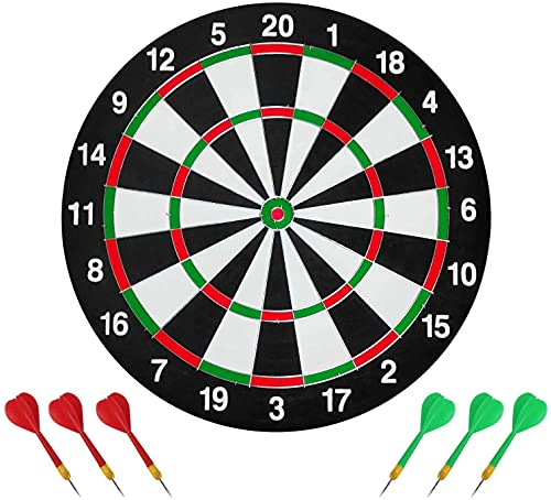 Radhe enterprise Double Sided Dart Board Set with 6 Darts Traditional Style Dart Board Adult Board Game Bullseye Game for Party Family 36 cm
