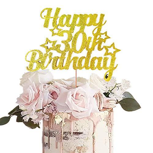 JeVenis Gold Glitter Happy 30. Geburtstagstorte Topper 30 Geburtstagstorte Topper 30. Geburtstagstorte Dekoration