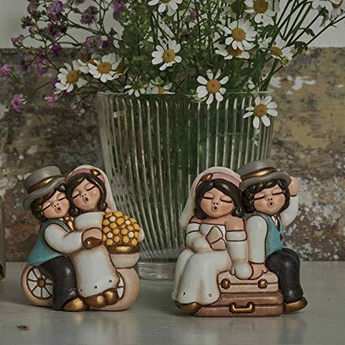 THUN - Coppia Sposini Ironici con Valigia - Bomboniere Matrimonio - Linea Cerimonia - Formato Piccolo - Ceramica - 6 x 4 x 7,1 h cm
