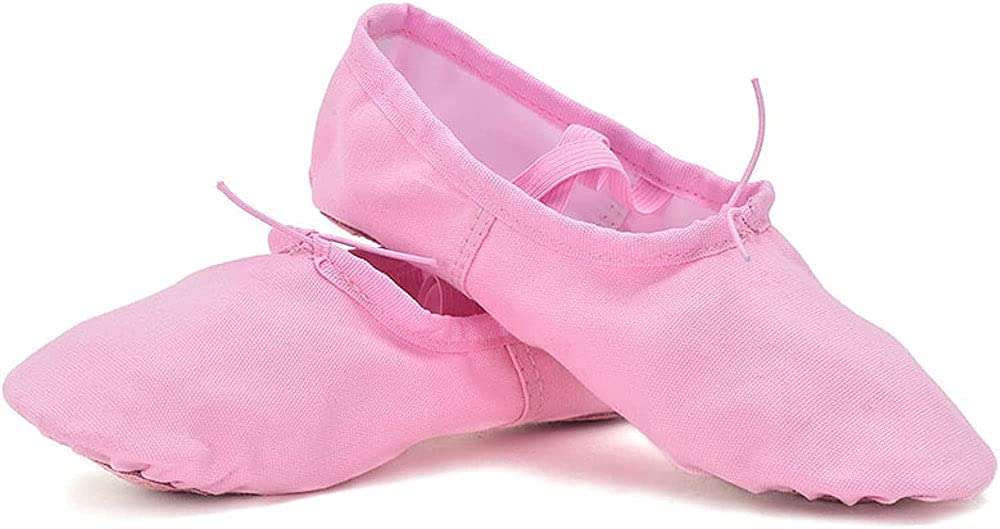 Ballet Canvas Dance Shoes,Gymnastic Yoga Shoes Flat Split Sole for Girls Ladies Children and Adult (Color : Pink, Size : 34 EU)