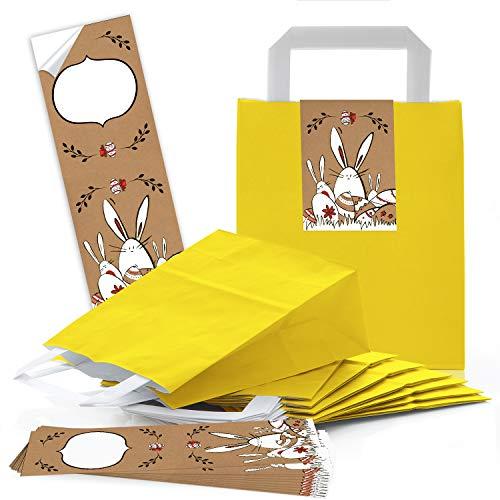 Logbuch-Verlag klein gele kraftpapier Paaszak met handvat 18 x 8 x 22 cm verpakking + Paashaas Paashaas-sticker 7,2 x 21 cm Vrolijk Pasen geschenktasje sticker wit bruin rood