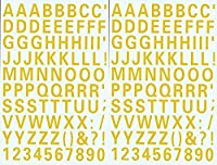 (シャシャン)XIAXIN 防水 PVC製 アルファベット ナンバー ステッカー セット 耐候 耐水 ローマ字 数字 キャラクター 表札 スーツケース ネームプレート ロッカー 屋内外 兼用 TS-539 (2点, イエロー)