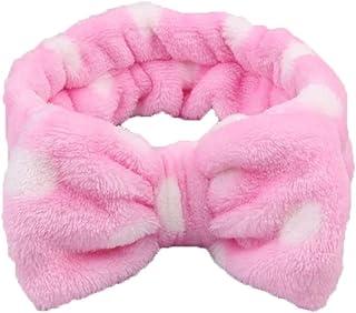 Sanwooden Elegant Headband Cute Big Bowknot Coral Fleece Headband Women Face Washing Elastic Hair Band Headband
