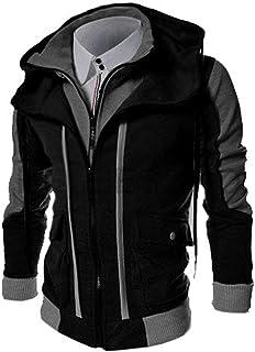 PinShang Men Slim Fit Stand Collar Hoodie Casual Coat Hooded Jacket Outwear Tops black 3XL