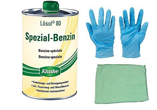 1 Liter Spezial Benzin zum Reinigen und Entfetten inkl. Microfasertuch zum Auftragen (Spezial-Benzin)