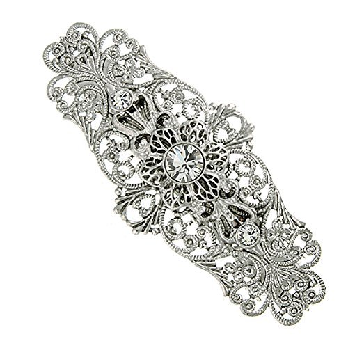 Silver-Tone Crystal Floral Filigree Bridal Barrette by 1928 Jewelry