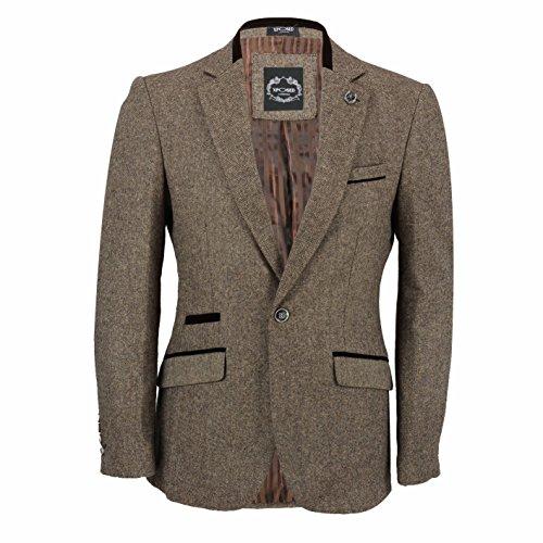 Blazer vintage da uomo in tweed, con patch sui gomiti, colore marrone