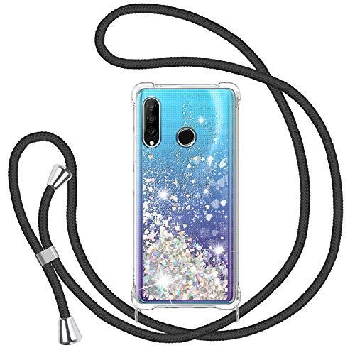 TUUT Funda Glitter Liquida con Cuerda para Huawei P30 Lite,