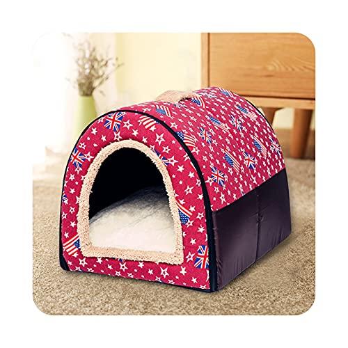 Pet bed Invierno desmontable cálido perro dormir casa perrera nido suave gato para gatito y cachorro cómodo diseño de arco cueva lavado a mano rojo 35x30x28cm 2.5kg