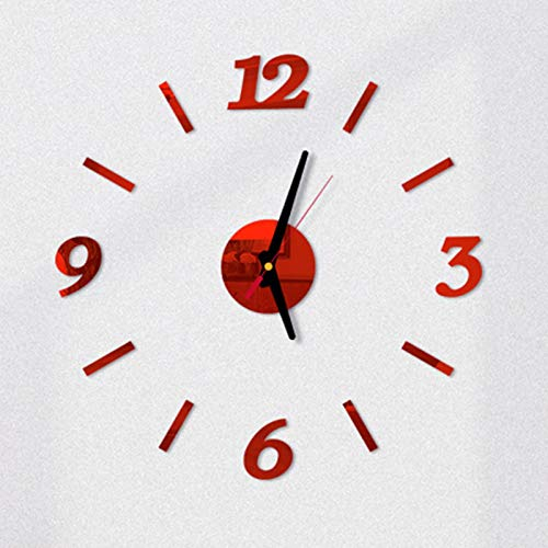 JYYF Reloj de Pared Silencioso Moderno DIY Reloj de Pared 3D Sin Marco DIY Pegatina de Pared Decoración del Reloj, Muy Adecuado para la Oficina en Casa, Hotel, RestauranteRed